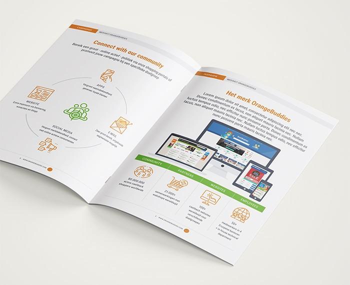 Vormgeving mediakit brochure voor OrangeBuddies