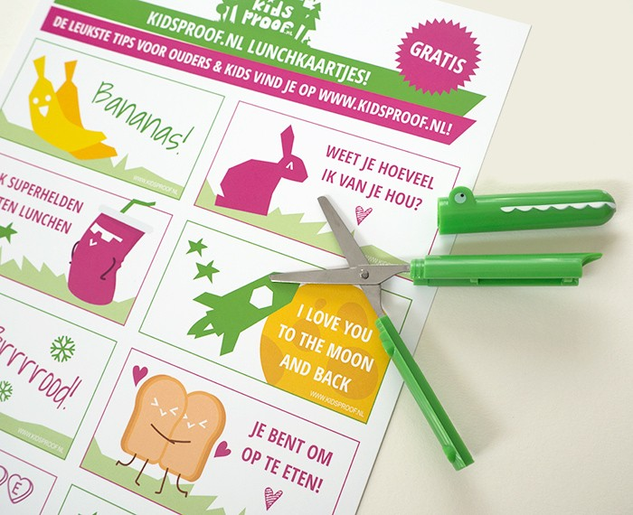 Opmaak Kidsproof kinder lunchkaartjes